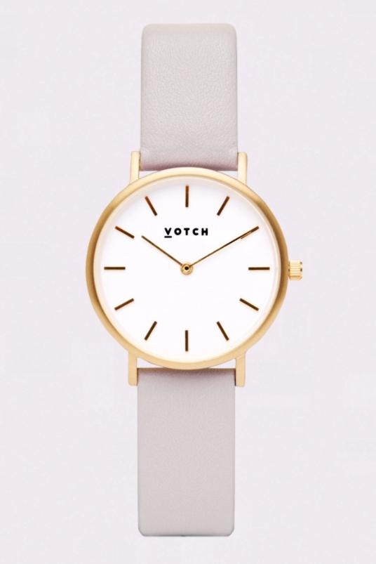 Petite Gold & Light Grey Vegan Leather Watch-Watch-Votch-MAMOQ