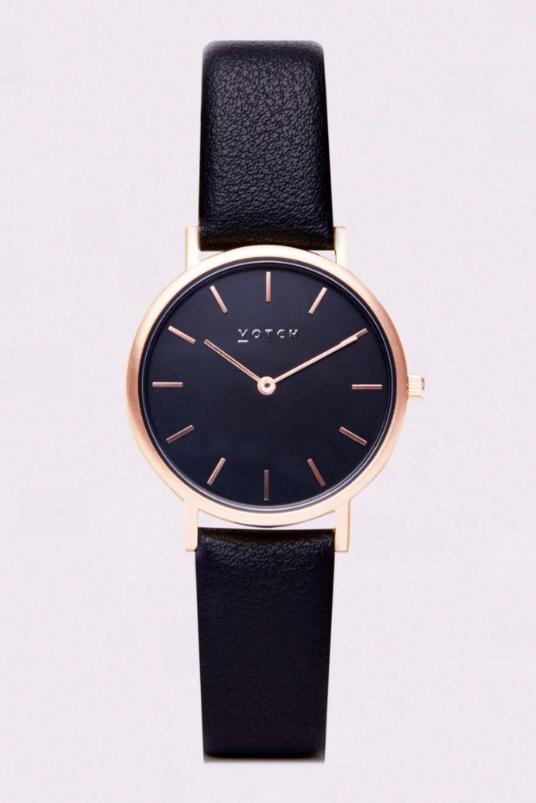 Petite Rose Gold & Black Vegan Leather Watch-Watch-Votch-MAMOQ
