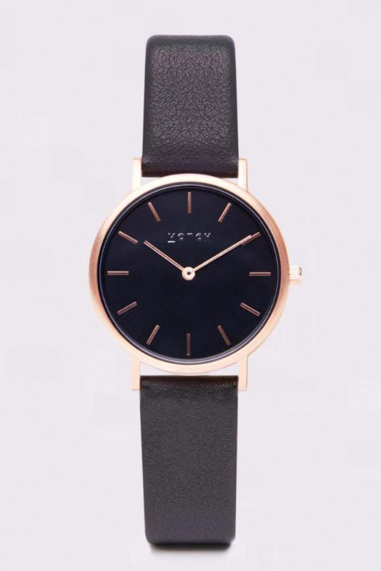 Petite Rose Gold & Black with Dark Grey Vegan Leather Watch-Watch-Votch-MAMOQ