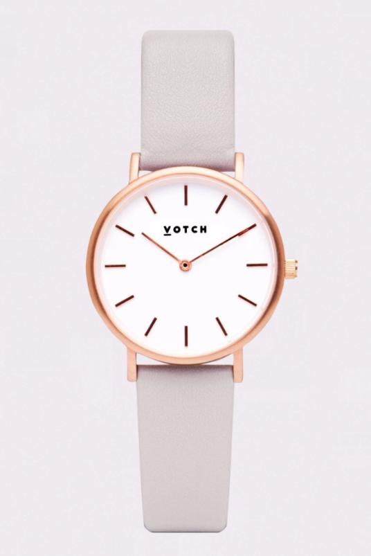 Petite Rose Gold & Light Grey Vegan Leather Watch-Watch-Votch-MAMOQ
