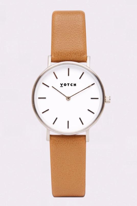 Petite Silver & Tan Vegan Leather Watch-Watch-Votch-MAMOQ