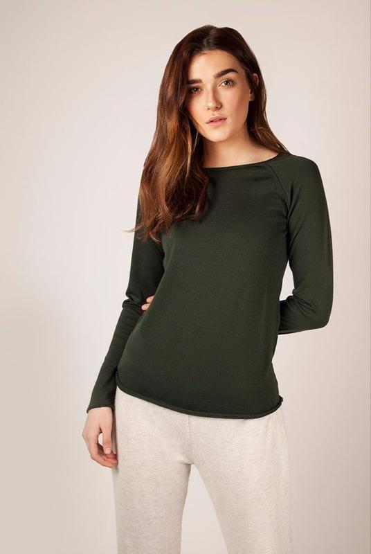 Phoebe Merino Raglan Forest Top-Flock by Nature-MAMOQ