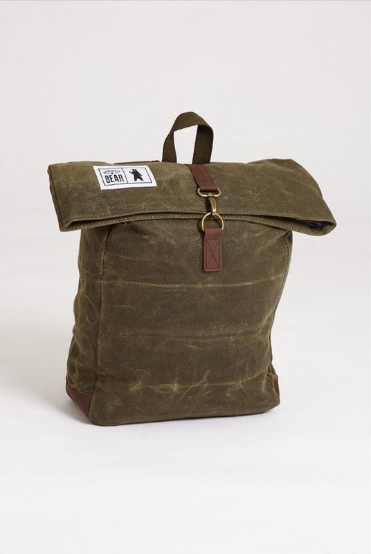 Pine Green Waxed Canvas Backpack-Absolutely Bear-MAMOQ