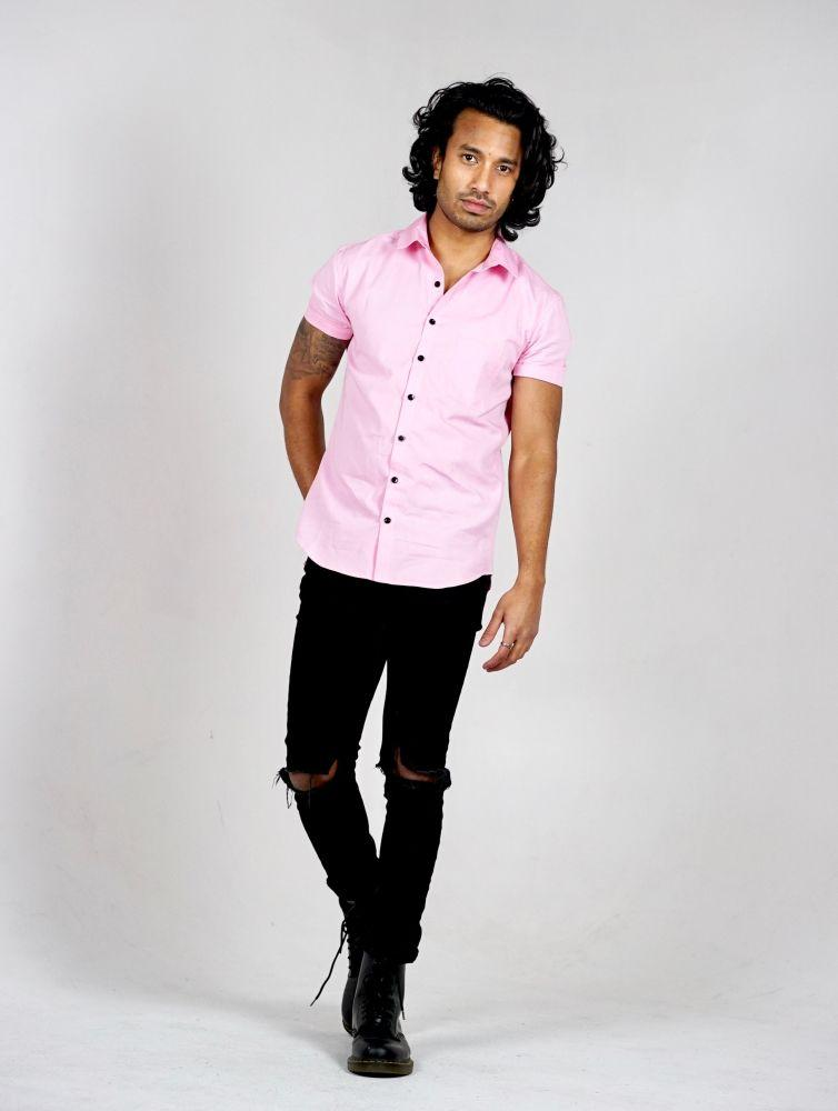 Pink Organic Cotton Short Sleeve Shirt-Wynad-MAMOQ