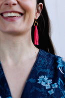 Pink Tassle Gold Plated Earrings-ACCESSORIES-Birdsong-MAMOQ