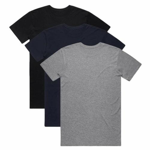 Premium Organic Cotton T-Shirts - Black/Dark Navy/Grey Marl - 3 Pack-Goose Studios-MAMOQ