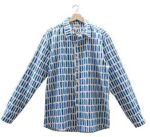 Printed Cotton Men's Shirt in Peacock Dash-Humphries & Begg-MAMOQ