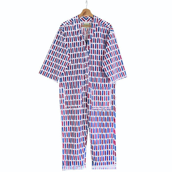 Printed Cotton Playsuit in Giant Dash-Humphries & Begg-MAMOQ