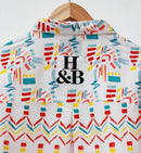 Printed Cotton Unisex Shirt in Jazz Patchwork-Humphries & Begg-MAMOQ
