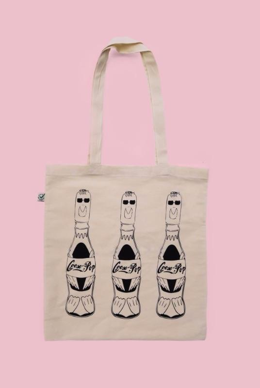 Printed Organic Cotton Tote Bag - Goose Pop-Goose Studios-MAMOQ