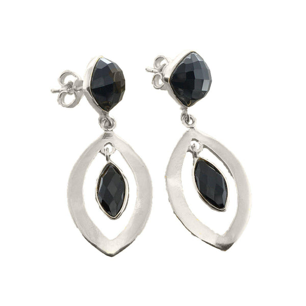 Priya Black Onyx Sterling Silver Dangle Earrings-jewellery-Harfi-MAMOQ