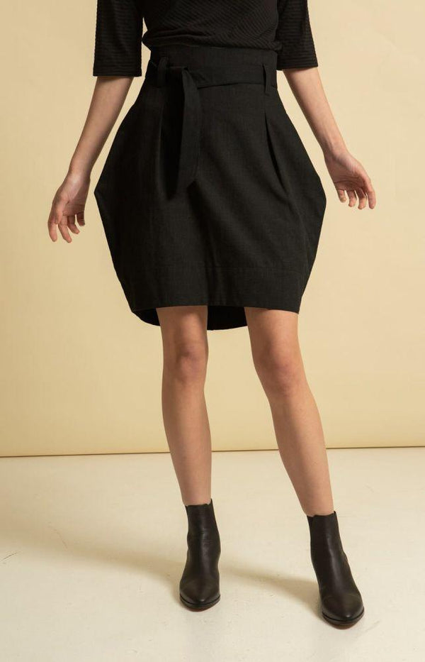 Radalla Black Recycled Cotton Tulip Skirt-TAUKO-MAMOQ
