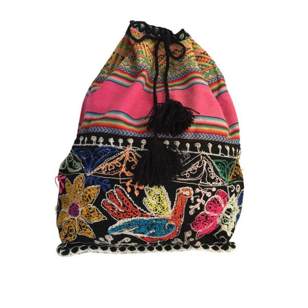 Ranrapalca Patterned Handwoven Wool Backpack-Untold Treasures-MAMOQ