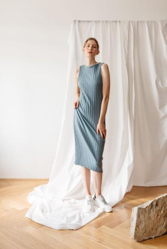 Raw Cut Light Blue Organic Cotton Midi Dress-ADVA-MAMOQ