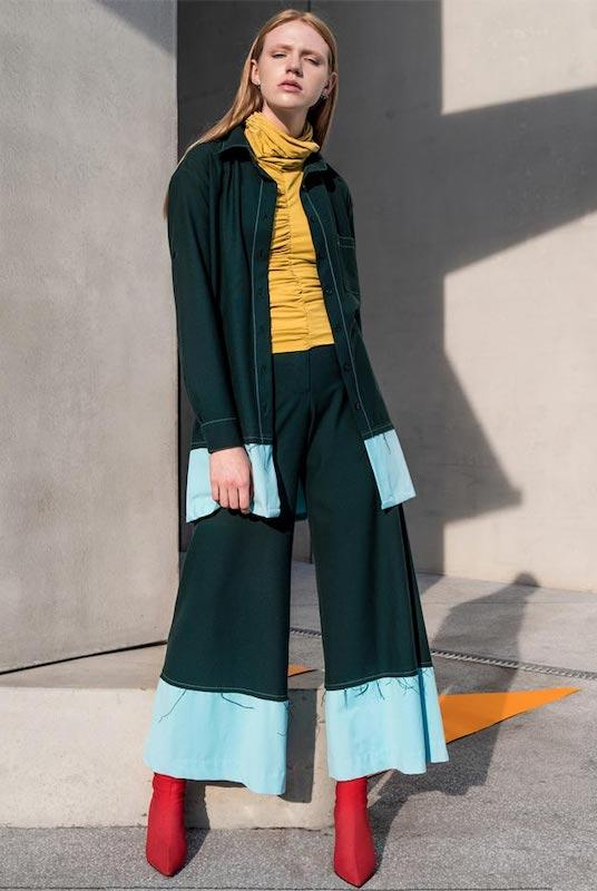 Raw Edge Green Wide Leg Trousers-blonde gone rogue-MAMOQ