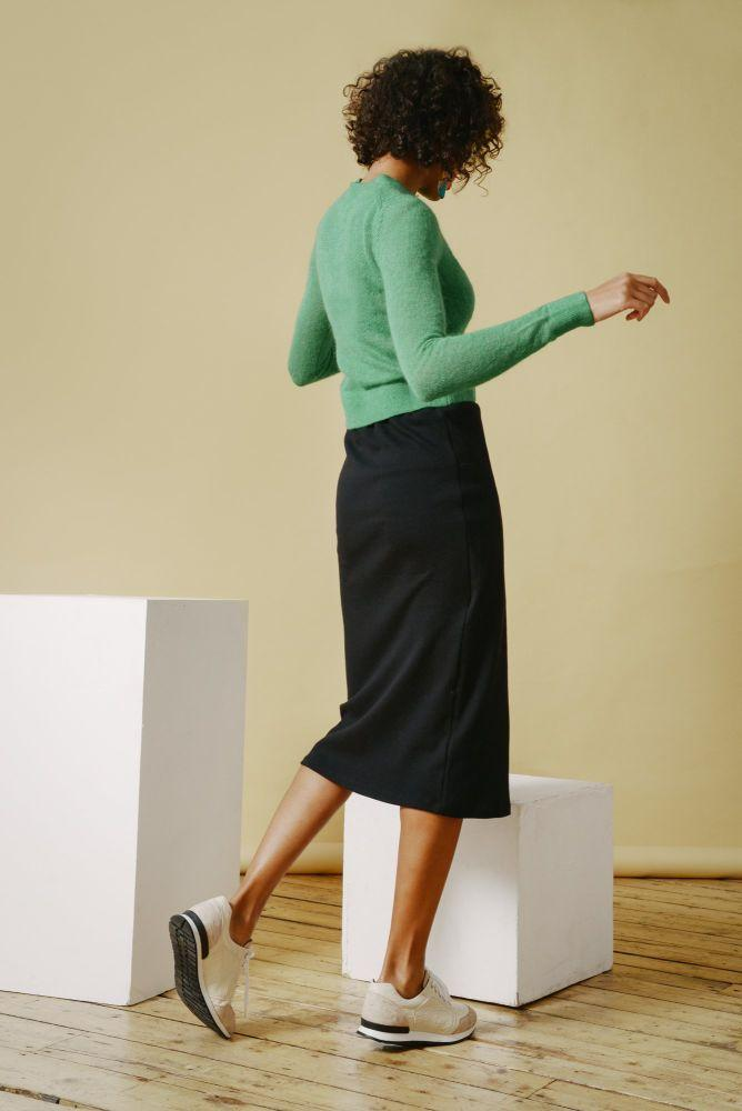Reclaimed Jersey Wrap Skirt in Black-Mayamiko-MAMOQ