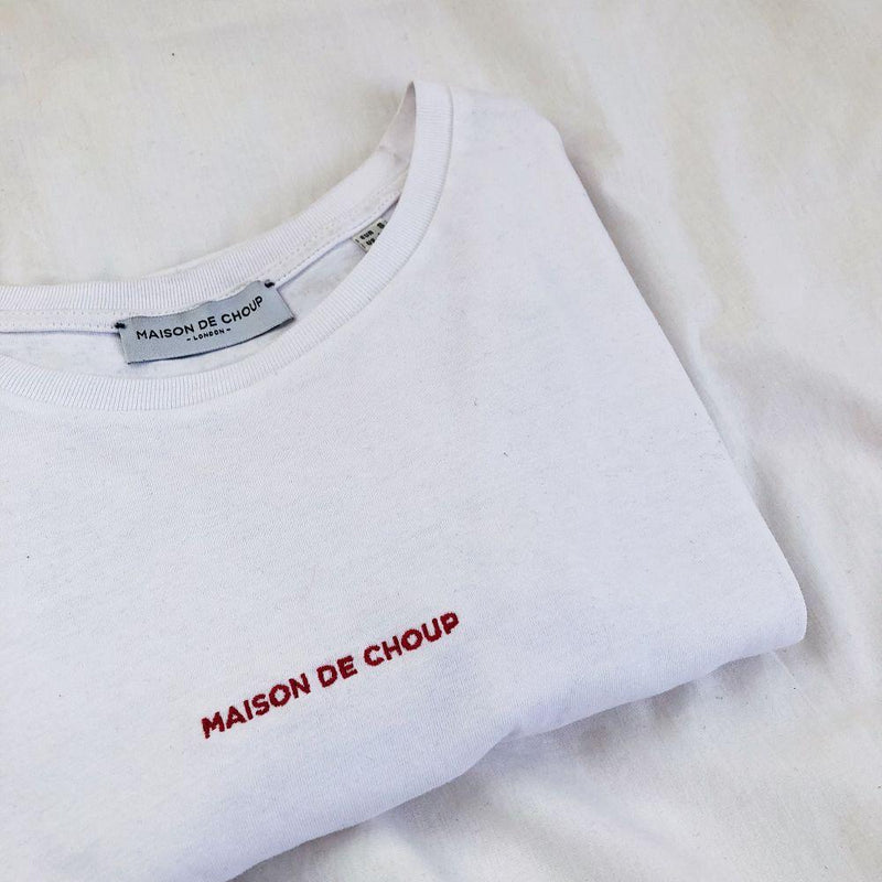 Red Embroidered Logo T-Shirt-Maison de Choup-MAMOQ