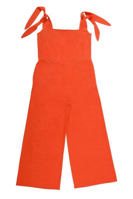 Red Hand-Woven Organic Cotton Jumpsuit-Birdsong-MAMOQ
