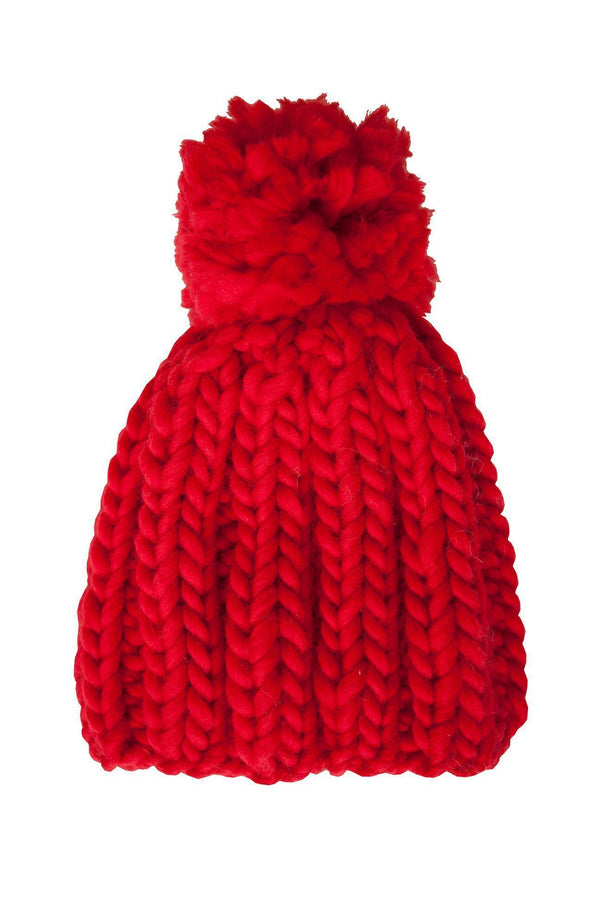 Red Wool Beanie with Pompom-ACCESSORIES-Birdsong-MAMOQ
