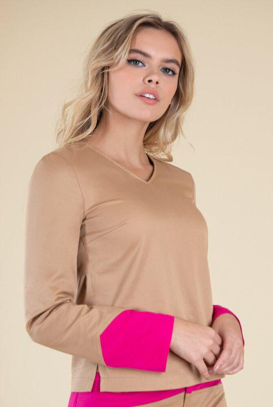 Rejoice Beige with Pink Cuffs Blouse-blonde gone rogue-MAMOQ