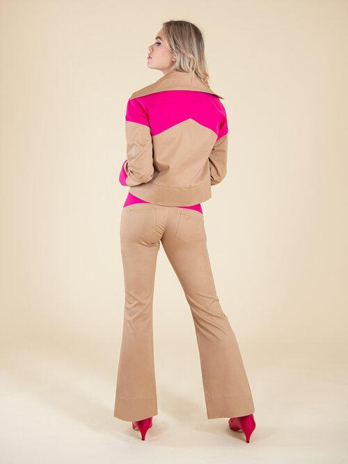 Rejoice Beige with Pink Details Flared Trousers-blonde gone rogue-MAMOQ