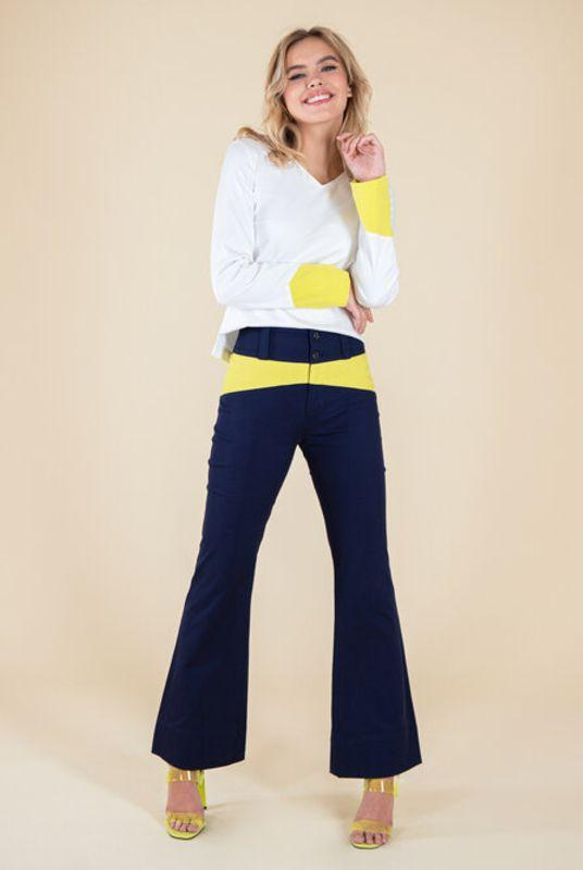 Rejoice Navy with Neon Yellow Flared Trousers-blonde gone rogue-MAMOQ