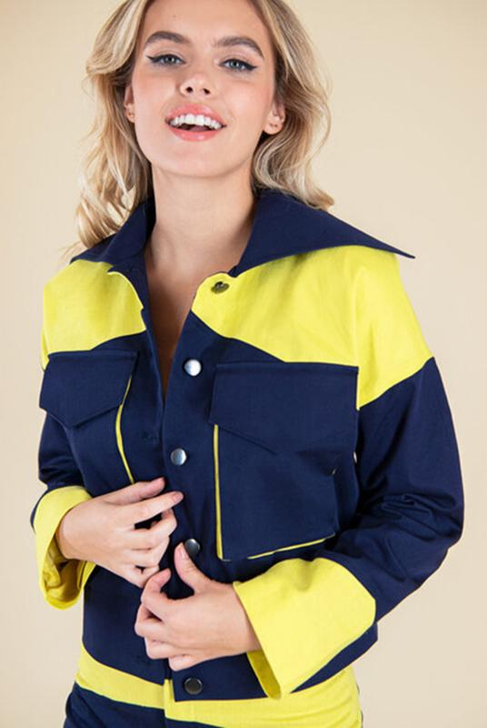 Rejoice Navy with Neon Yellow Jacket-blonde gone rogue-MAMOQ