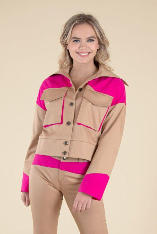 Rejoice Pink Panels Jacket-blonde gone rogue-MAMOQ