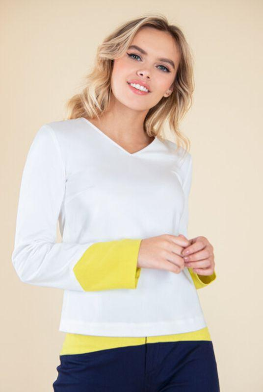 Rejoice White with Yellow Cuffs Blouse-blonde gone rogue-MAMOQ