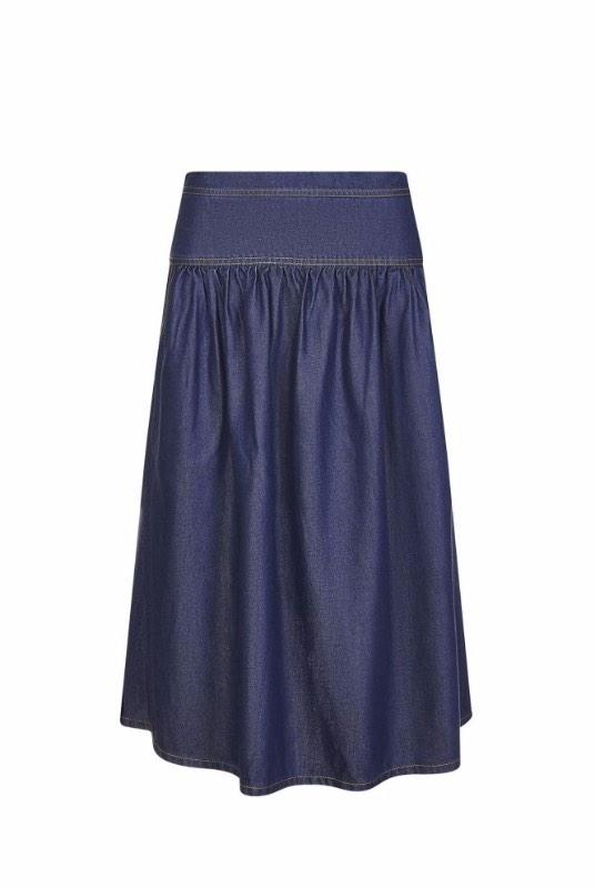 Ren Denim Blue Tencel Midi Skirt-Komodo-MAMOQ