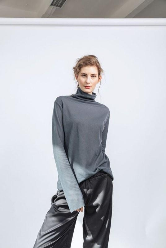 Rib Wide Sleeve Recycled PET Roller Neck Top-ADVA-MAMOQ