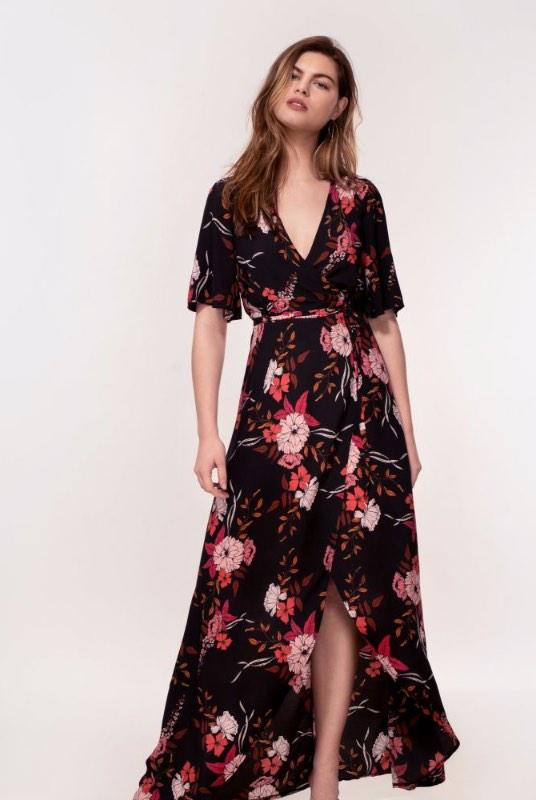 Rosa Peach Floral Print Maxi Dress-Hide The Label-MAMOQ