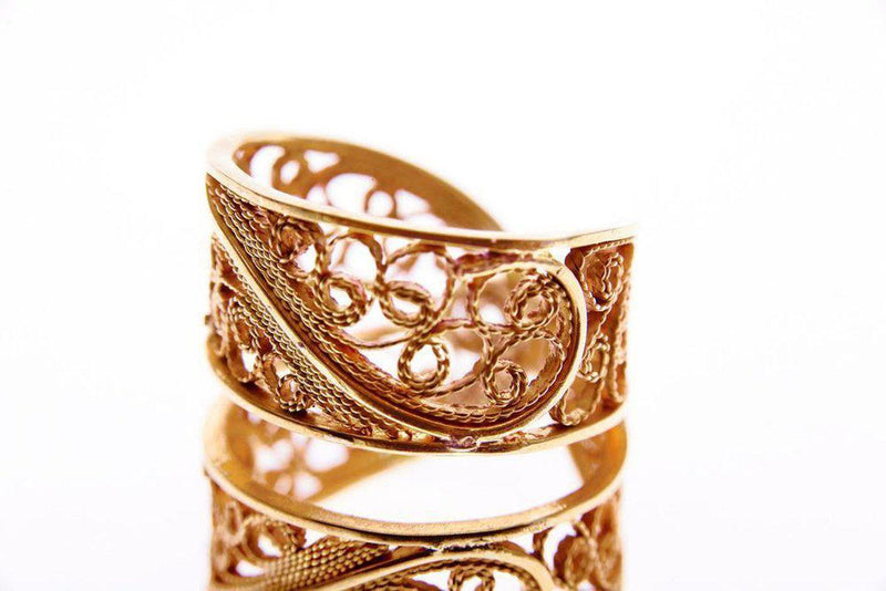 Rose Gold Filigree Links Ring-Arabel Lebrusan-MAMOQ