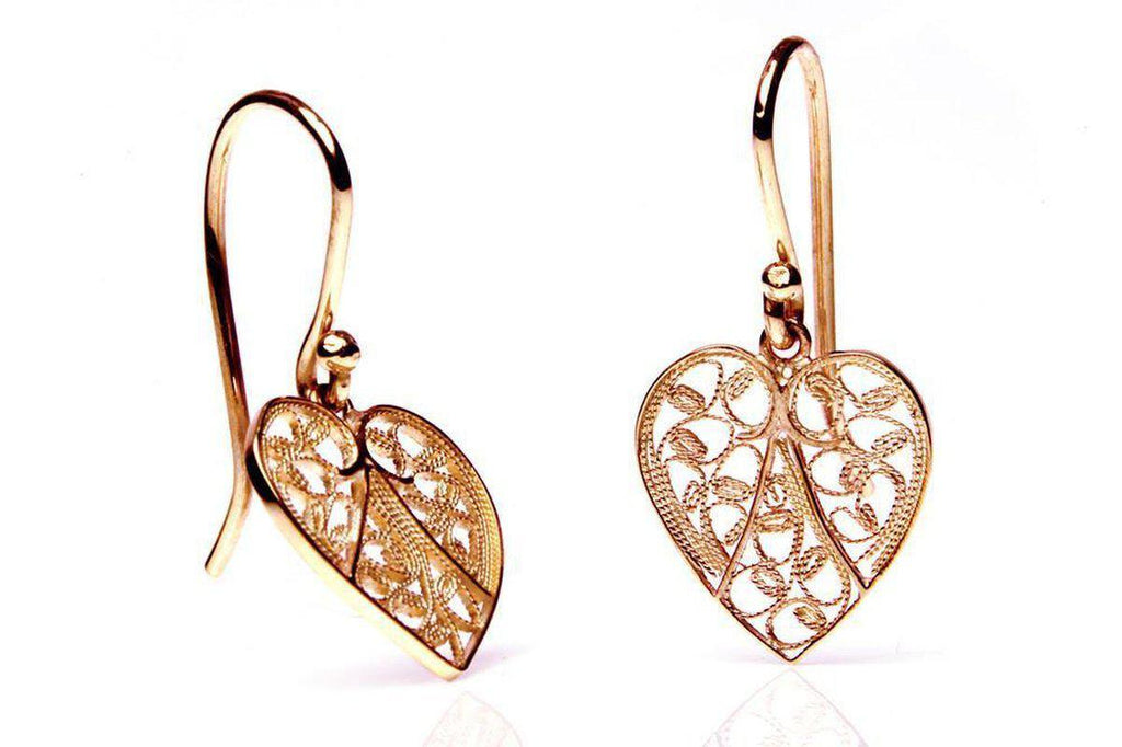 Rose Gold Heart Filigree Earrings-Arabel Lebrusan-MAMOQ