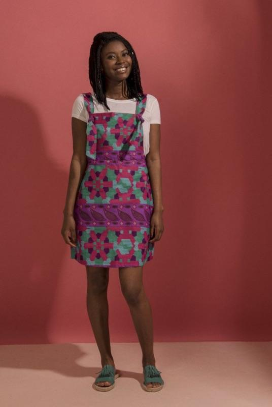 Rose Tribal Pink Midweight Cotton Pinafore Dress-Mayamiko-MAMOQ