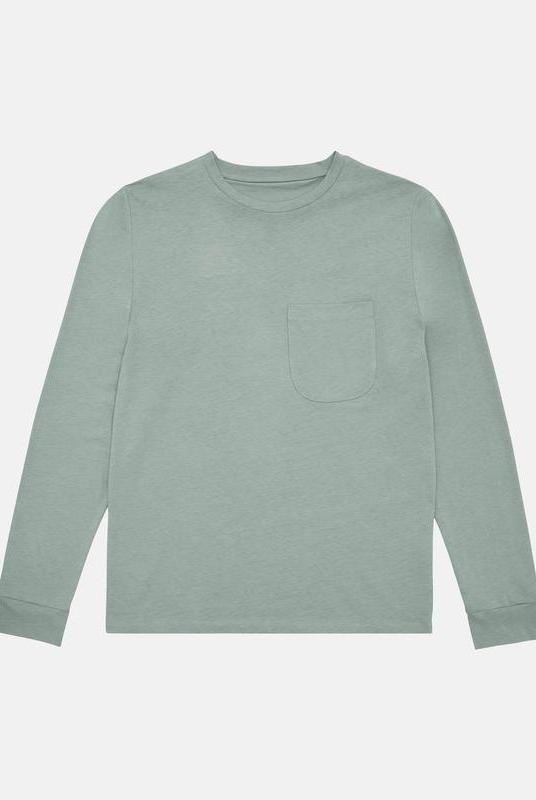 Sage Long Sleeve Organic Cotton Pocket T-Shirt Unisex-Riley Studio-MAMOQ
