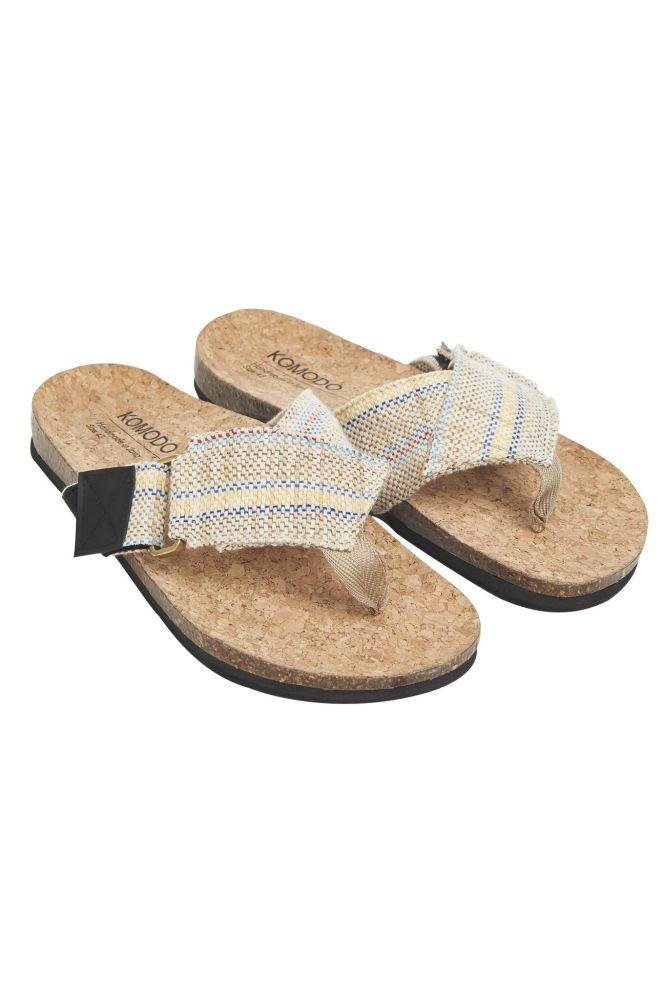 Sage Striped Organic Cotton Sandals-Komodo-MAMOQ