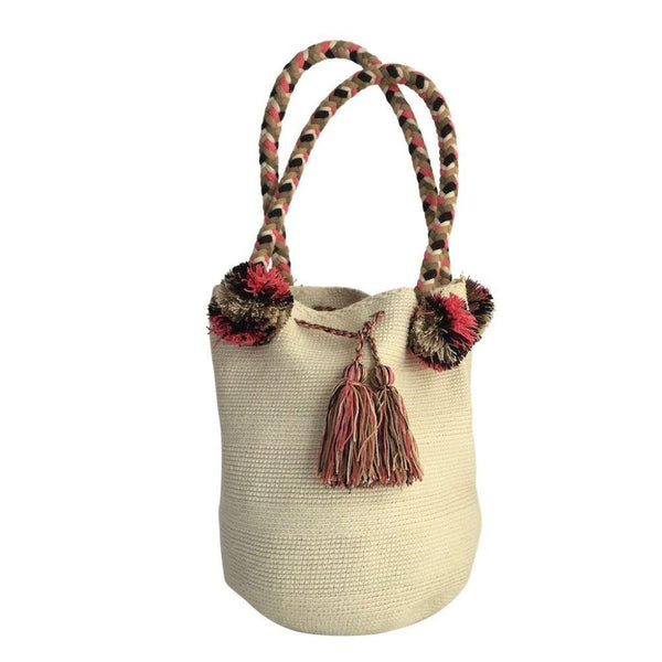 Salaqúí Beige Cotton Wayuu Mochila Bag-Untold Treasures-MAMOQ