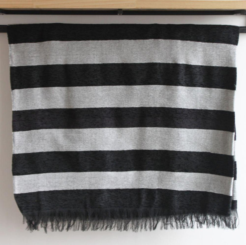 Salim Black Striped Moroccan Throw-Harfi-MAMOQ