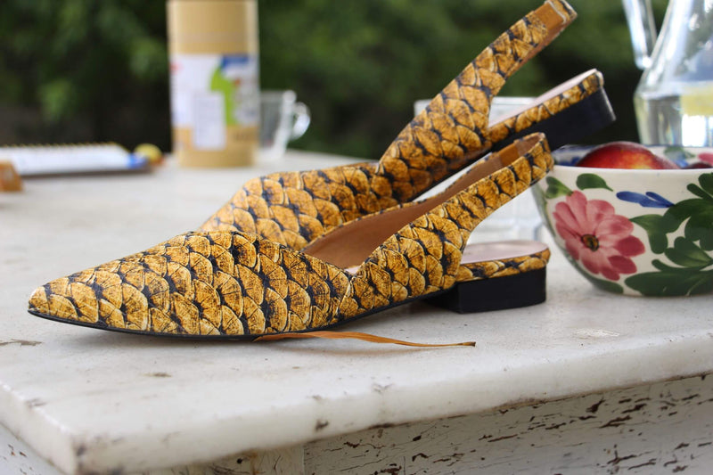 Salmon Yellow Leather Sandals-Shoes-Momoc Shoes-MAMOQ