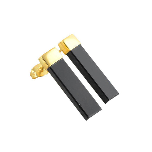 Samara Rectangular Black Onyx Gold Plated Earrings-jewellery-Harfi-MAMOQ