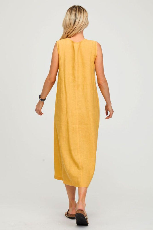 Samara Yellow Linen Maxi Dress-Aspiga-MAMOQ