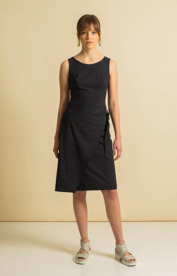 Sand Coal Black Recycled Cotton Dress-TAUKO-MAMOQ