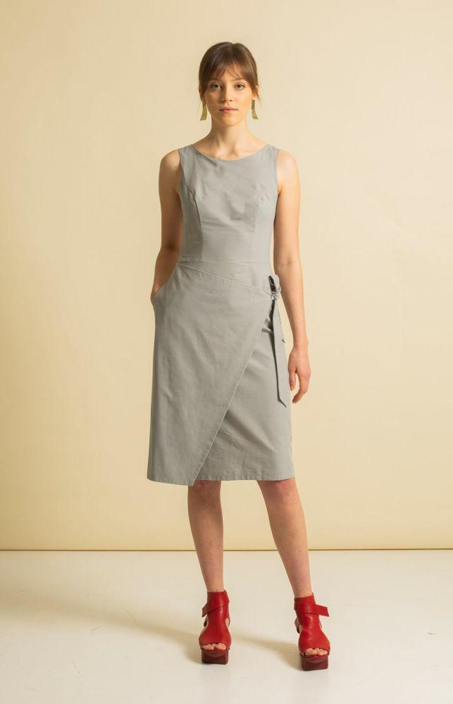 Sand Light Grey Recycled Cotton Dress-TAUKO-MAMOQ