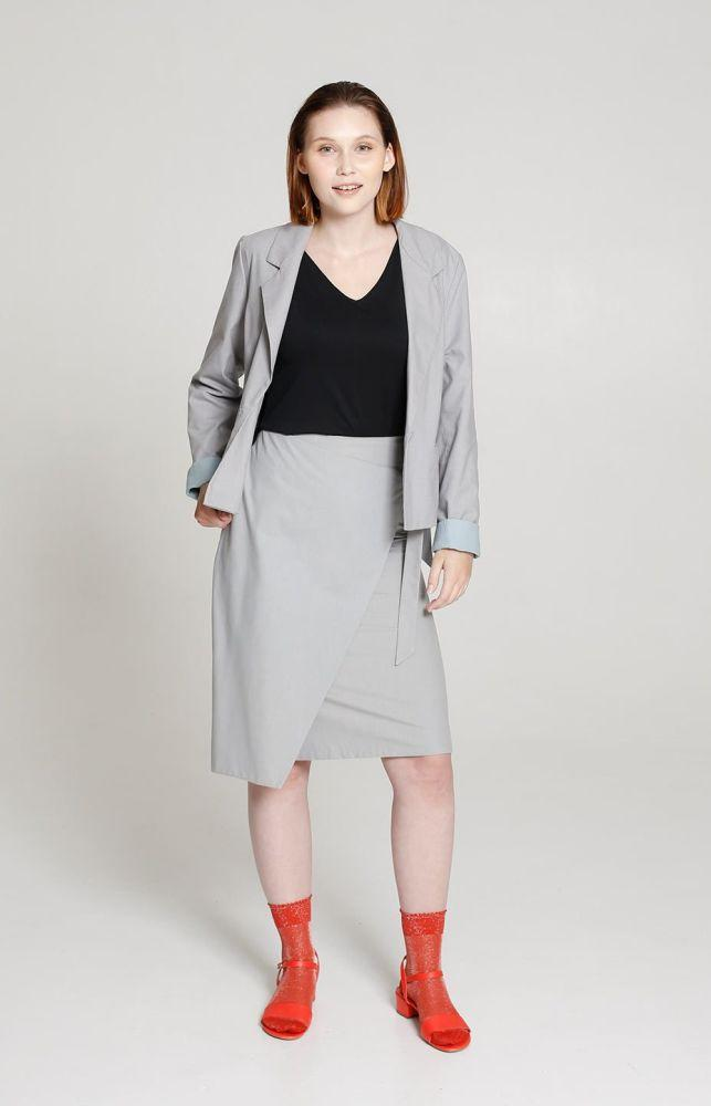 Sand Skirt Light Grey-TAUKO-MAMOQ