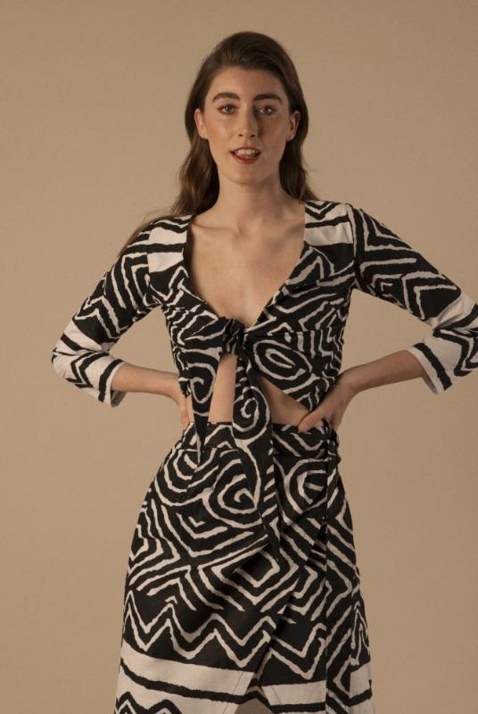 Sara Tie Front Shirt in Tribal Monochrome-Mayamiko-MAMOQ