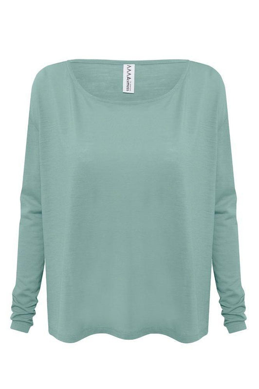 Sea Green A-Line Long Sleeve T-Shirt-Asmuss-MAMOQ