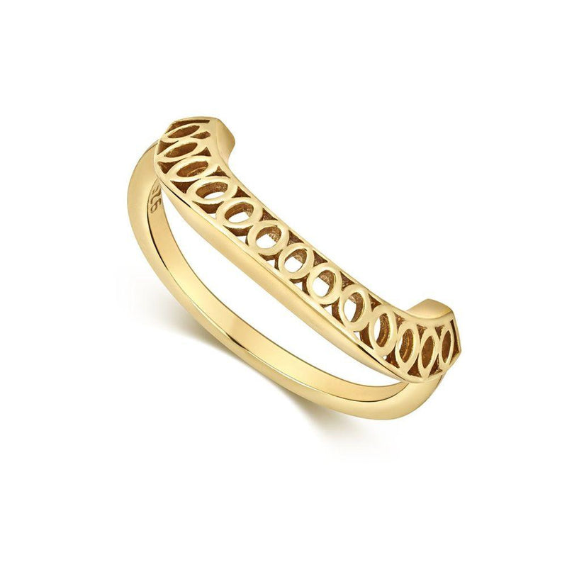 Seville Gold Plated Crescent Ring-Little by Little Jewellery-MAMOQ