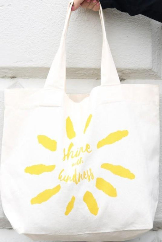 Shine With Kindness White Organic Cotton Shopper Bag-Belo-MAMOQ