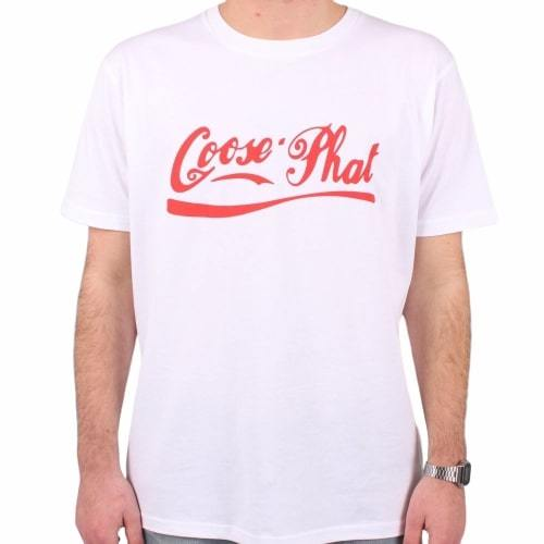 Short Sleeved Organic Cotton T Shirt with Red logo - White-Goose Studios-MAMOQ